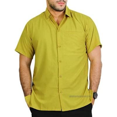 LA LEELA Men's Business Casual Cheap Hawaiian Beach Shirt Solid Plain Collared Holiday Party Casual Shirts Mustard_W874 4XL