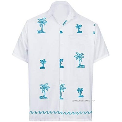 LA LEELA Men's Button Down Classic Hawaiian Beach Shirt Solid Embroidered Frontpocket Camp Party Casual Shirts White_W821 M
