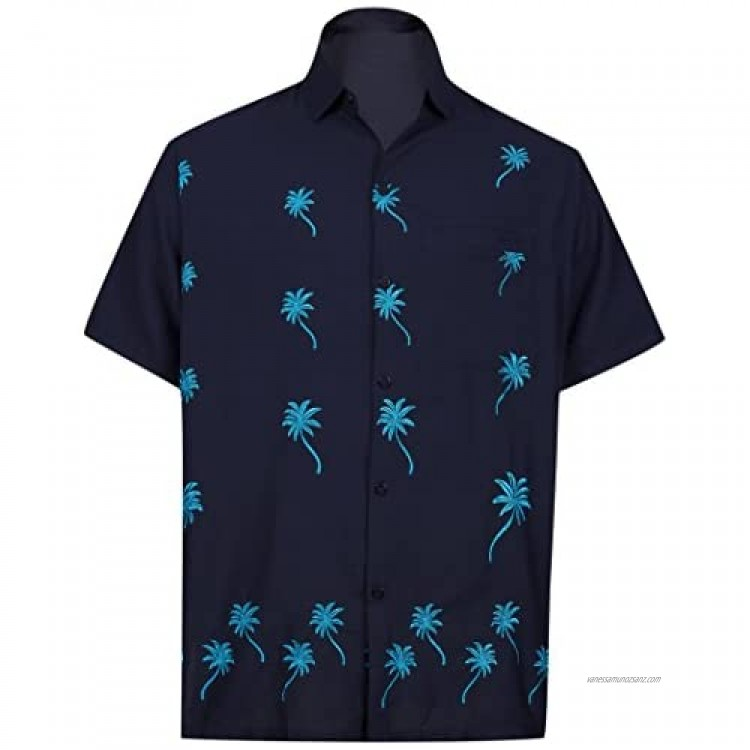 LA LEELA Men's Button Up Oxford Hawaiian Beach Shirt Solid Embroidered Relaxed Shortsleeve Everyday Casual Shirts Navy Blue W839 L