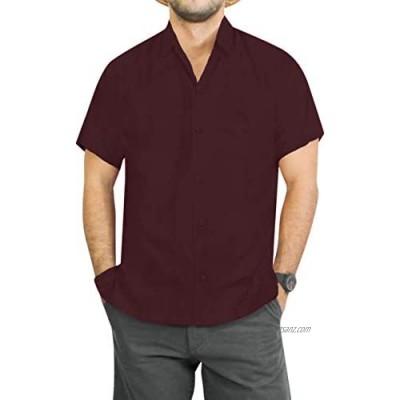 LA LEELA Men's Button Up Oxford Hawaiian Beach Shirt Solid Plain Relaxed Shortsleeve Everyday Casual Shirts Violet_W876 5XL