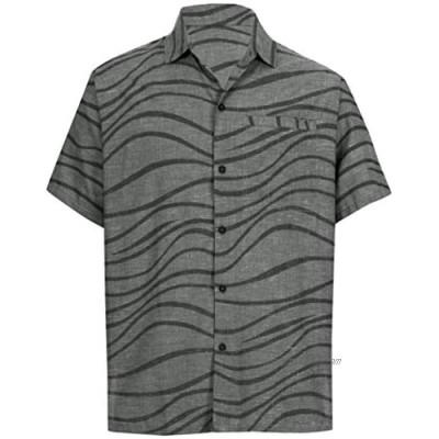 LA LEELA Men's Regular Vintage Hawaiian Beach Shirt Aztec Brasso Short Sleeve Holiday Party Hawaii Shirts Black_AA1 S