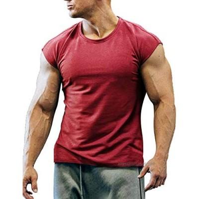 COOFANDY Men's Gym T Shirts Short Sleeve Bodybuilding T Shirts Cotton Plain Tops
