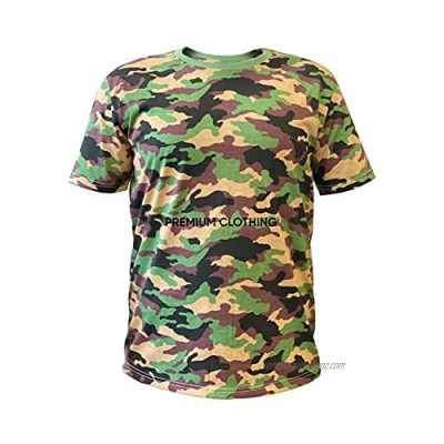 Mens Crew Neck Military Camouflage T-Shirts Army Combat Tee Summer Top Jungle