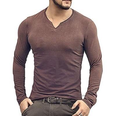 Men's Long/Short Sleeve Beefy T Shirt Slim Fit Casual Cotton V-Neck Basic Undershirts