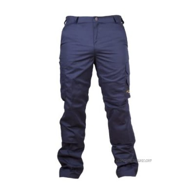 """2 x Goldstar Mens Cargo Combat Black Or Navy Work Trouser Pants with Knee Pad Pockets (46"""" Waist 34 Long Navy Blue)"""