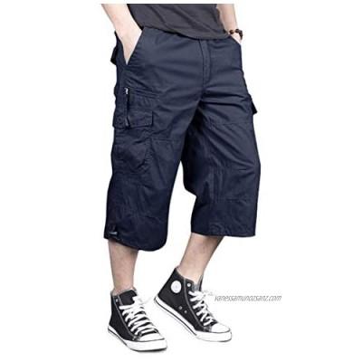 Bnokifin Men's Cargo Shorts Casual 3/4 Lenght Elastic Waist Summer Shorts Baggy Capri Pants with Multi Pockets