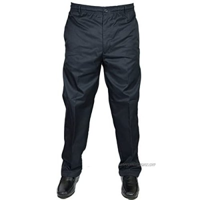 Carabou Mens Big King Trousers Rugby Casual Elasticated Waist Navy Work Pants Sizes 32-60