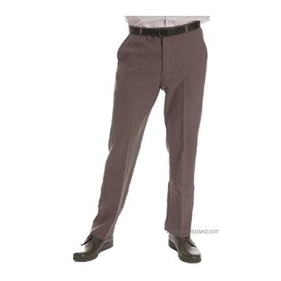 """HS Men's Lawn Bowls Bowlswear Bowling 100% Polyester Flat Front with Belt Bowling Grey Trousers /Trouser Size 30"""" to 44"""" (Waist to Fit"""