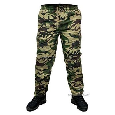 Mens KK Thermal Fleece Lined Elasticated Trousers Cargo Combat Work Pants Bottoms