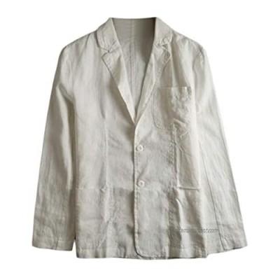 Sweetmini Mens Sport Coat Casual Two Button Notched Lapel Linen Blazer Jacket