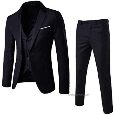 TIMEMEAN Mens Suits Blazer Slim 3-Piece Suit Blazer Business Wedding Party Jacket Vest & Pants