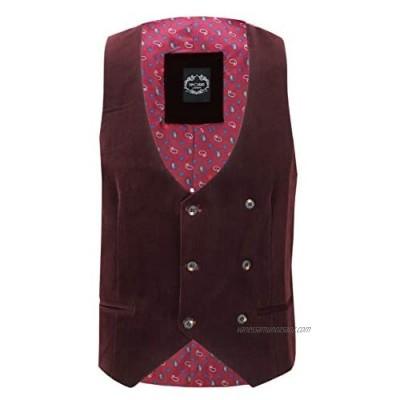 Xposed Mens Soft Corduroy Blazer Coat Vintage Retro Tailored Waistcoat UK[WC-MATTHEW-MAROON-52 Waistcoat-Maroon Chest UK/US 52 EU 62]