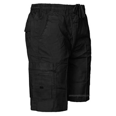 Fashion Fateek Mens Summer Cotton Beach Shorts Combat Cargo Short Trousers Elastic Loose Short