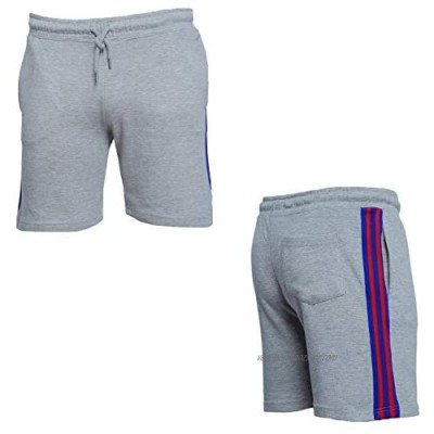 Mens Summer Shorts Side-Taped French Terry Short-Length Running Gym Short Jogger (Light Grey 2XL)